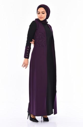 2 Layers Pearls Dress 4119-01 Purple 4119-01