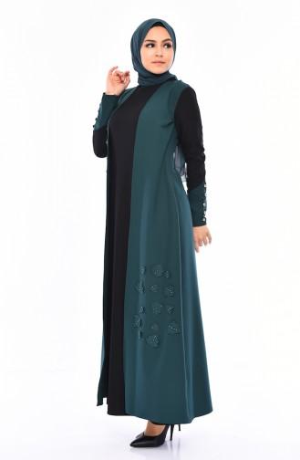 2 Layers Pearls Dress 4119-03 Emerald Green 4119-03
