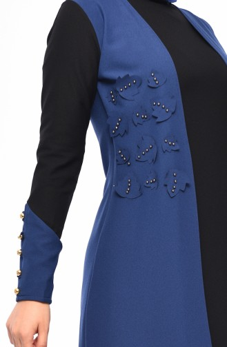 2 Layers Pearls Dress 4119-06 İndigo 4119-06