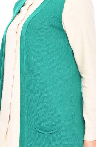 سترة بدون اكمام مُحاك بتصميم جيوب 4116-17 لون اخضر 4116-17
