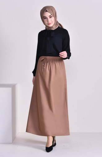 Plated Waist Skirt 1001E-01 Camel 1001E-01