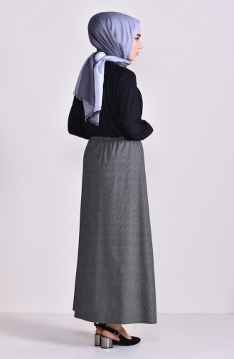 Plated Waist Skirt 1001L-01 Black White 1001L-01