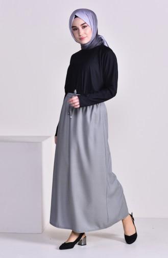 Plated Waist Skirt 1001I-01 Gray 1001I-01
