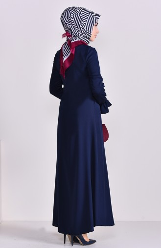 EFE Button Detailed Dress 9292-06 Navy Blue 9292-06