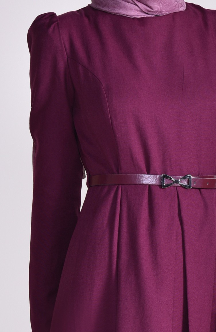 257ca5a924a TUBANUR Belted Dress 2781-01 Plum 2781-01