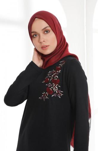 فستان بتفاصيل مُطرزة 5013-01 لون أسود 5013-01