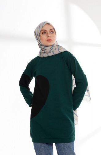 Kalpli Sweatshırt 3081-05 Zümrüt Yeşili Siyah