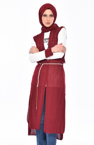 Baskılı Bluz Yelek İkili Takım 9050-01 Bordo