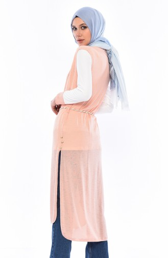 Printed Blouse Vest Binary Suit 9050-06 Salmon 9050-06