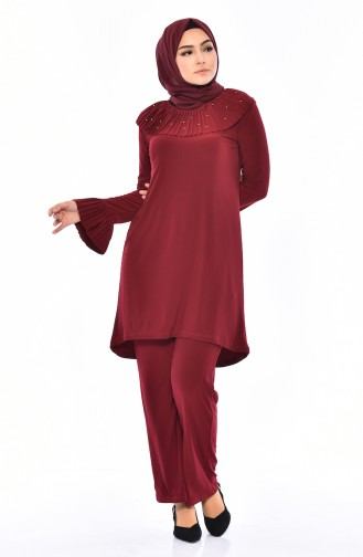 Pearls Sandy Tunic Pants Binary Suit 4121-06 Claret Red 4121-06