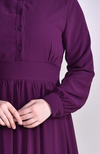 Chiffon Kleid mit Spitze Detail 81694-04 Dunkel Zwetschge 81694-04