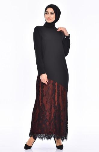 Lace Detail Dress 0132-04 Black Tile 0132-04