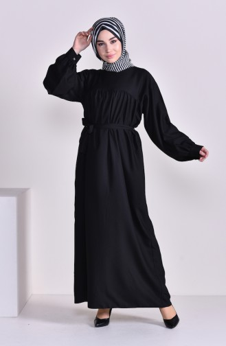 Pleated Belted Dress 2058-04 Black 2058-04