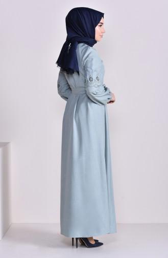 Nakışlı Kuşaklı Elbise 1022-04 Çağla Yeşili