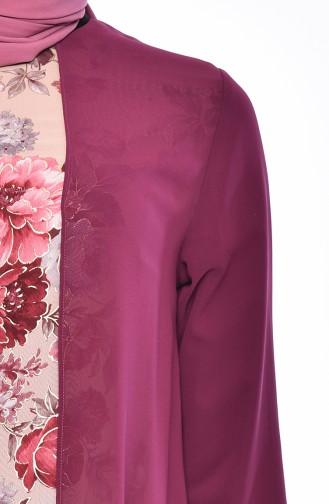 Blumen Gemustertes Chiffon Kleid   5414-01 Zwetschge 5414-01