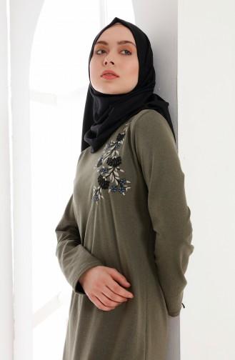 Robe Brodée 5013-02 Khaki 5013-02