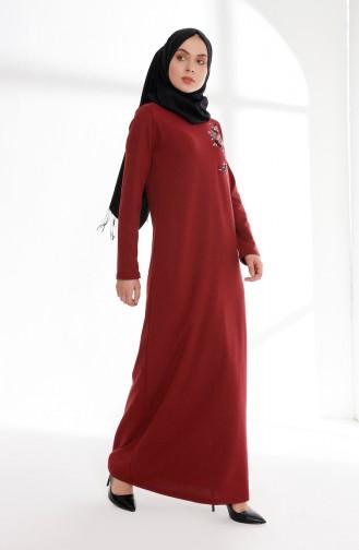 فستان بتفاصيل مُطرزة 5013-03 لون خمري 5013-03