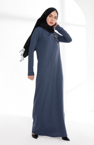فستان بتفاصيل مُطرزة 5013-05 لون نيلي 5013-05