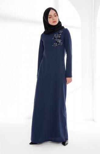 Nakış Detaylı Elbise 5013-07 Açık Lacivert