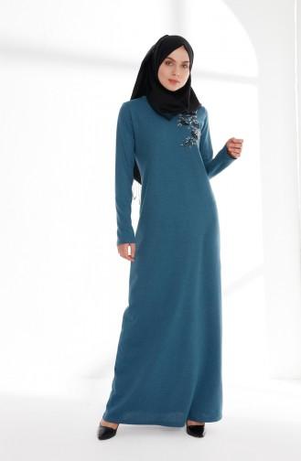 فستان بتفاصيل مُطرزة 5013-10 لون بترولي 5013-10