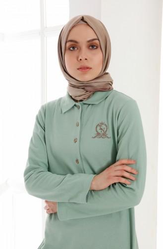 Polo Yaka Pike Örme Elbise 5015-02 Nefti Yeşil 5015-02
