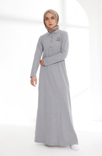Polo Yaka Pike Örme Elbise 5043-08 Gri