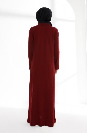 Claret Red Hijab Dress 5015-04