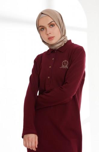 Polo Collar Pique Knitted Dress 5043-04 Damson 5043-04