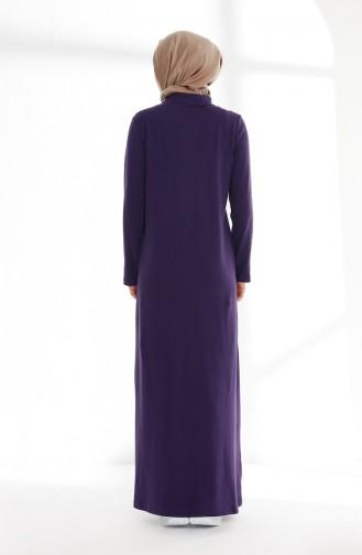 Polo Yaka Pike Örme Elbise 5043-01 Mor