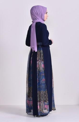 Şifon Garnili Likralı Elbise 8151-02 Lacivert