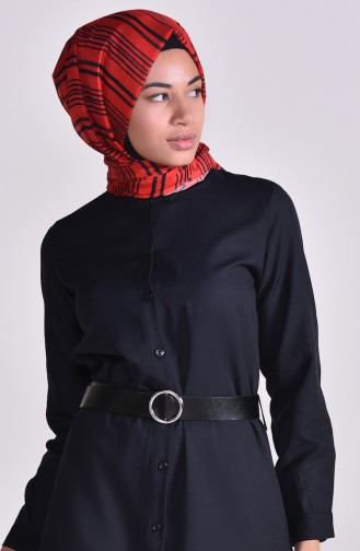 Belted Long Tunic 1336-01 Black 1336-01
