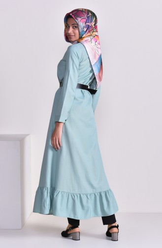 Belted Long Tunic 1336-02 Almond Green 1336-02