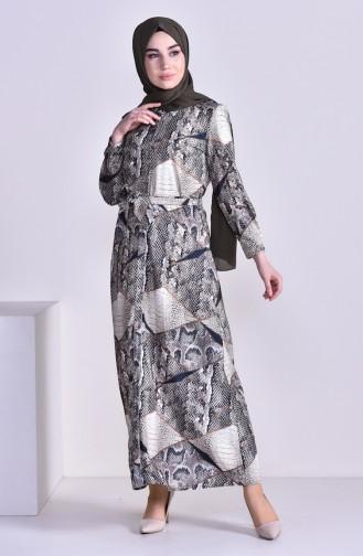 Robe a Motifs et Ceinture 0307-01 Beige 0307-01