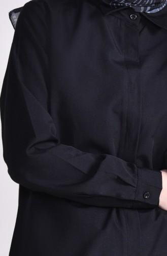 تونيك بتصميم أزرار مخفية و طيات 2483-02 لون أسود 2483-02