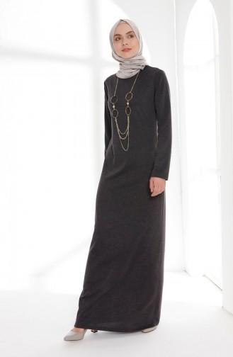Kolyeli Elbise 5005-09 Koyu Antrasit