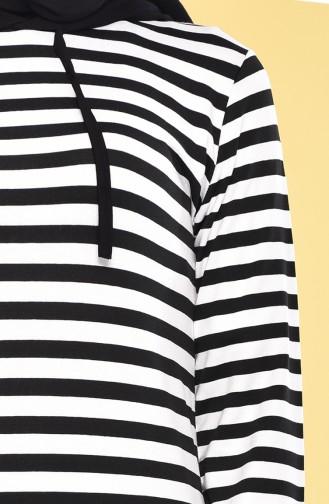 Striped Long Tunic 3011-05 Black White 3011-05