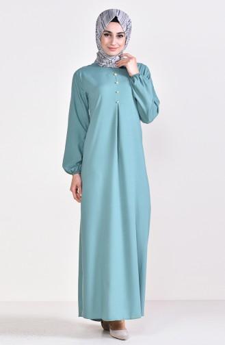 Viskon Düğme Detaylı Elbise 9012-07 Çağla Yeşili 9012-07