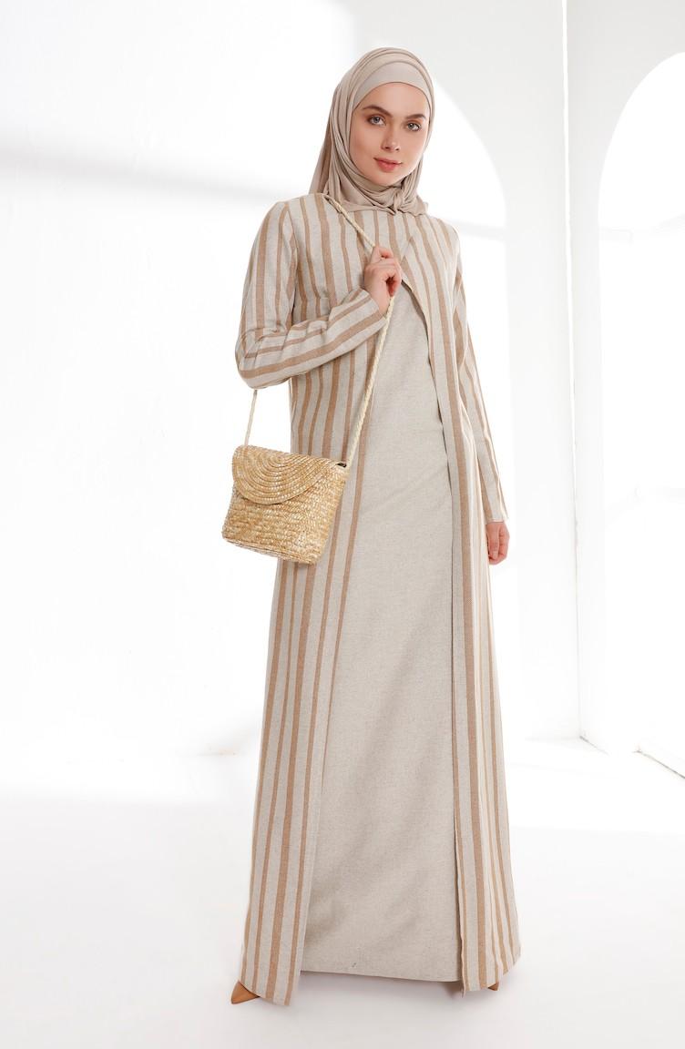 ade768a91b Oyya Suit Looking Linen Dress 9004-04 Camel 9004-04