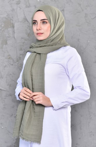 Plain Shirred Cotton Shawl 901467-10 Light Khaki Green 901467-10