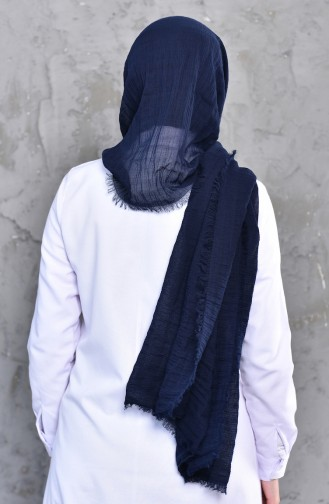 Plain Shirred Cotton Shawl 901467-14 Navy Blue 901467-14