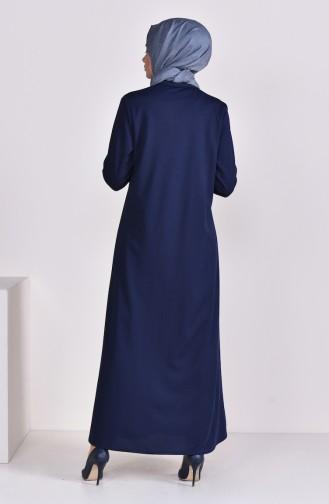 Pleated Abaya 7964-02 Navy Blue 7964-02