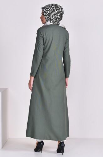 Zippered Abaya 1290-01 Khaki 1290-01