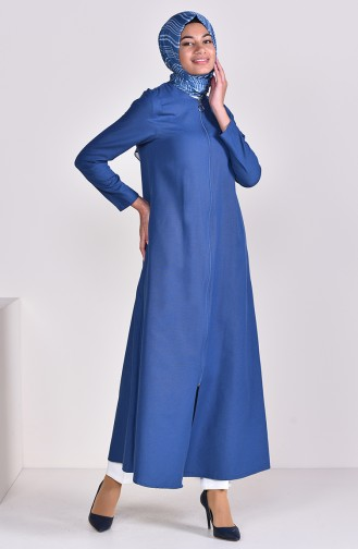 Zippered Abaya 1290-03 Indigo 1290-03