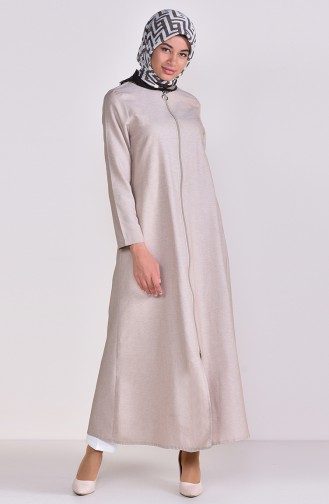 Zippered Abaya 1290-05 Stone 1290-05