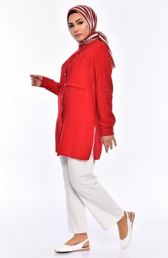 Taschen Detailliertes Hemd 1125-02 Rot 1125-02
