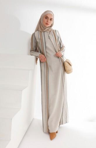 Takım Görünümlü Keten Elbise 9013-01 Haki
