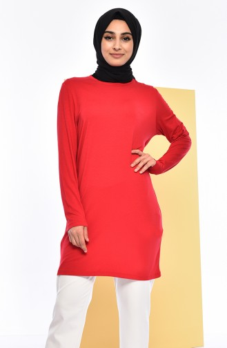 Natural Fabric Bat Sleeve Cotton Tunic 1058-06 Claret Red 1058-06
