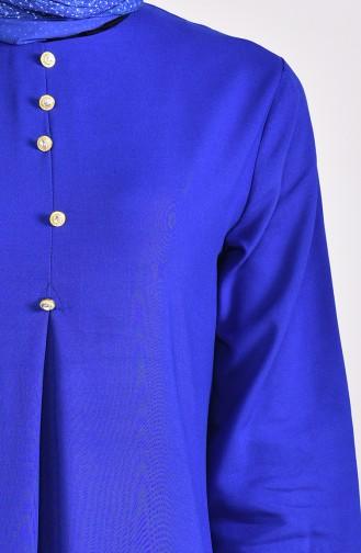 فستان بتفاصيل ازرار 9012-11 لون ازرق 9012-11