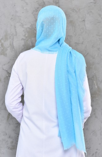 Self-Patterned Cotton Shawl 326-116 Baby Blue 326-116