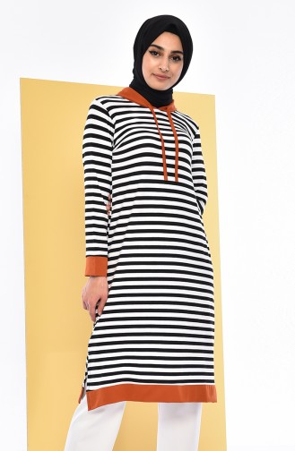 Striped Long Tunic 3011-01 Black Tile 3011-01